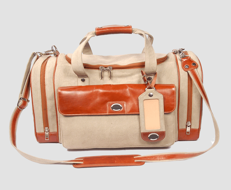 Canvas Travel Bag with Leather Trim # 4204