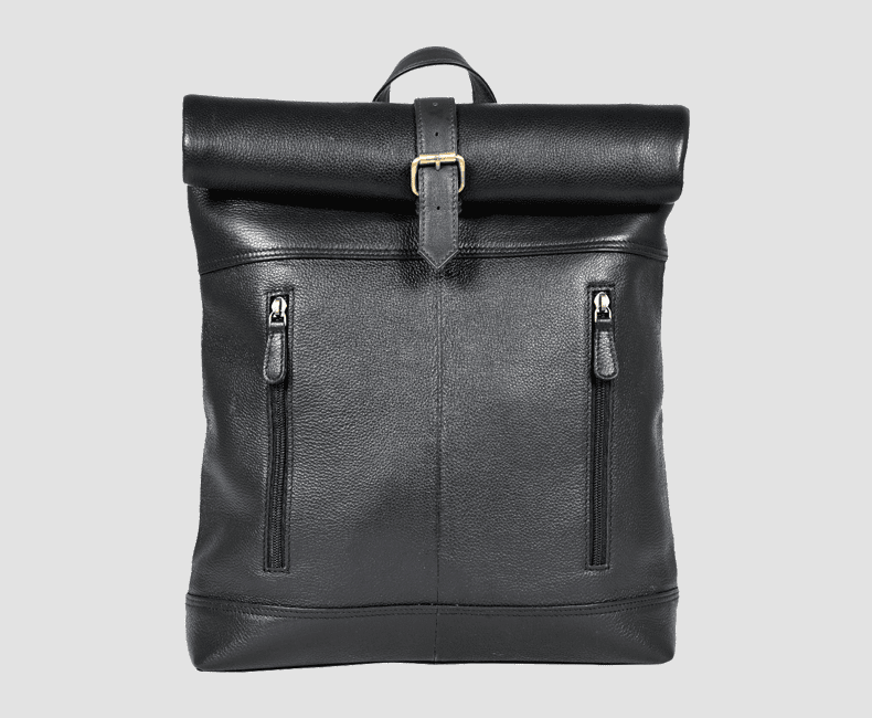 Rolled Top Leather Backpack #7205