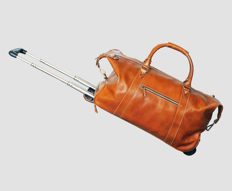 Wheeled Leather Luggage Bag